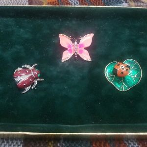 Jewelry - Butterfly, and ladybug, enamel, brooches